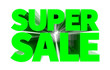 canvas print picture - SUPER SALE green word on white background illustration 3D rendering