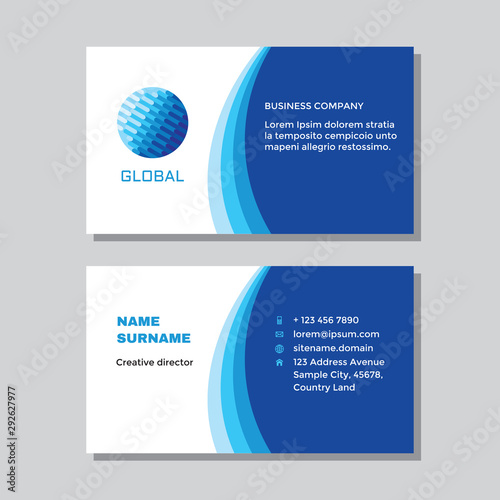 Business visit card template with logo - concept design. Computer global network technology. Vector illustration.