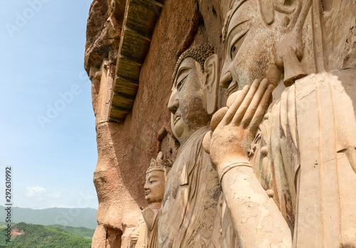 Close look of the huge Bodhisattva sculptures at Maijishan Grottoes, Tianshui, Gansu, China Canvas Print