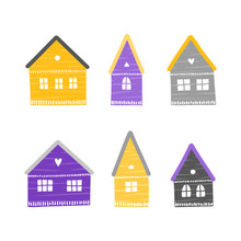 Set Of Colorful Doodle Houses ...