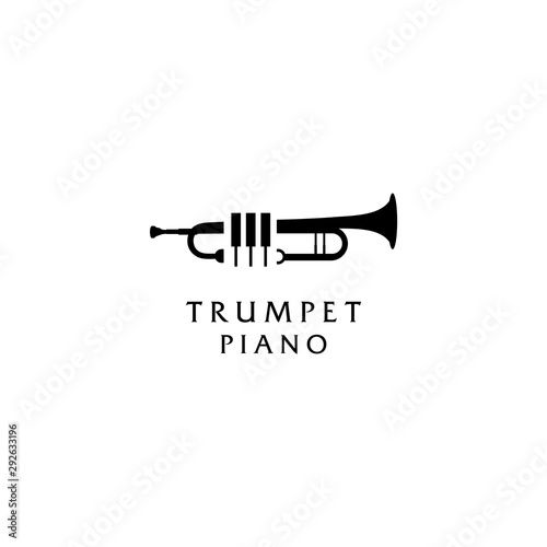 Photo Trumpet and piano music logo design inspiration