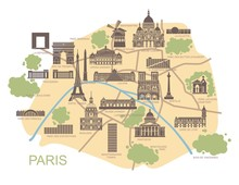 Stylized Map Of Paris With The Main Tourist Attractions