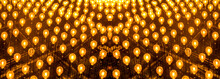 Many Light Bulbs Shining Bright. Plenty Lightbulbs In Rows On Ceiling Burn, Panoramic Image