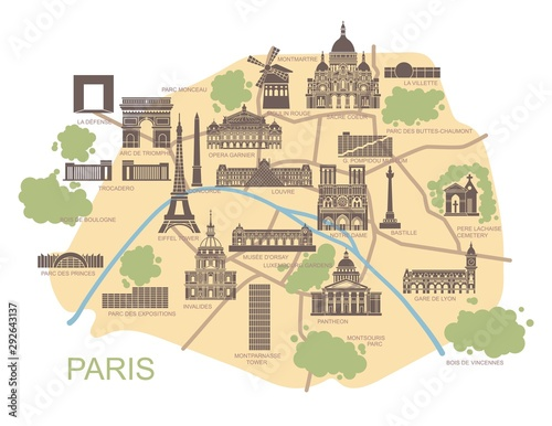 Valokuva Stylized map of Paris with the main tourist attractions