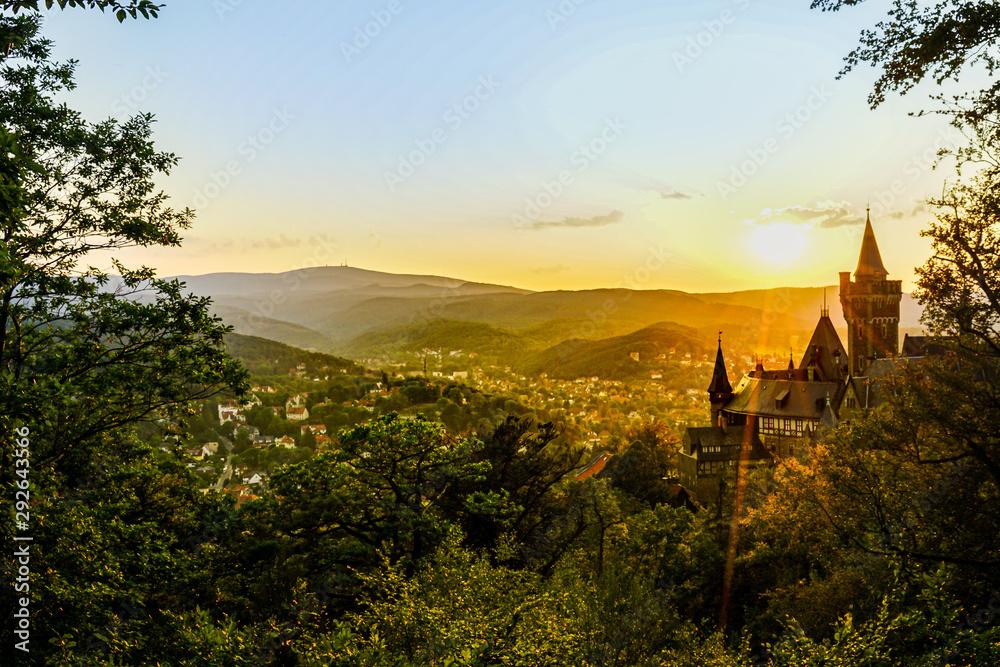 Fototapeta Schloss und Blick auf Wernigerode