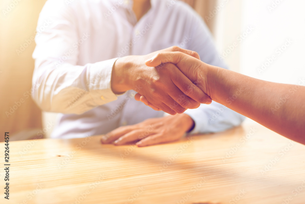 Fototapety, obrazy: Image of asian business handshaking after good deal at office. meeting concept.