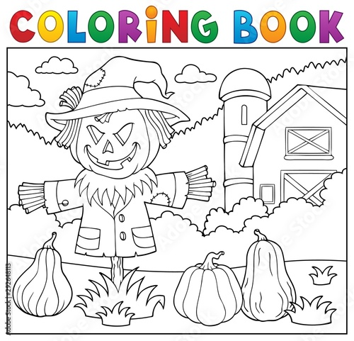 Montage in der Fensternische Für Kinder Coloring book scarecrow topic 2