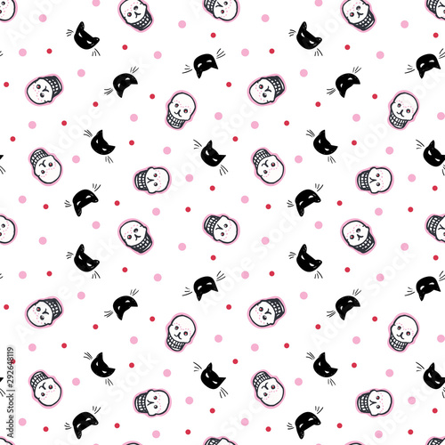 Foto  Seamless vector day of the dead folk art pattern with hand drawn shugar scull in black and white, cat and dot