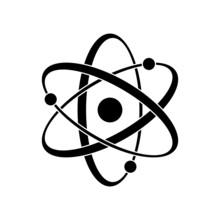 Black Atom Vector Icon. Symbol...