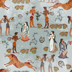 Fototapeta Architektura Minoan civilization seamless pattern. Ancient Crete culture. Heraklion. Ancient Greece frescos. Jumping bulls and goddesses. Knossos murals mythology