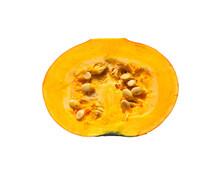 Half Pumpkin With Seeds Isolat...