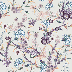 Fototapeta Florystyczny Beautiful soft vector vintage pattern in classic style with purple flowers