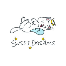 Sweet Dreams. Kawaii Illustrat...