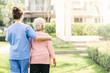 canvas print picture - nurse caregiver support walking with elderly woman outdoor