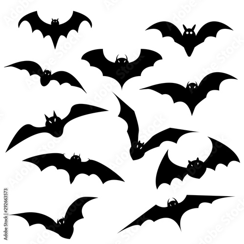 Halloween black bat icon set Canvas Print