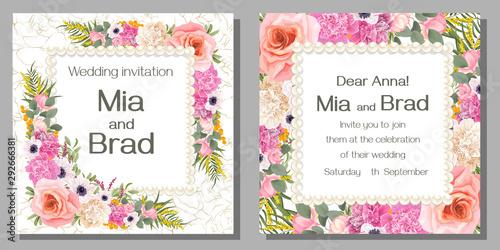 Fototapeta set of vintage cards with flowers obraz