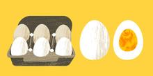Set Of 6 Fresh Eggs In A Cardb...