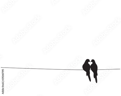 Fotomural  Birds On Wire Silhouettes making heart Vector, Minimalist poster design isolated on white background