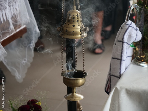 Vászonkép Censer with Smoke at a Funeral Ceremony in Orthodox Church
