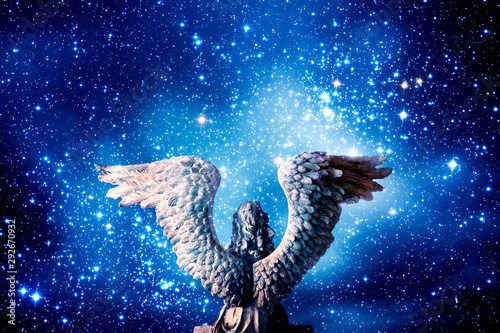 angel archangel with Universe filled with stars Wallpaper Mural
