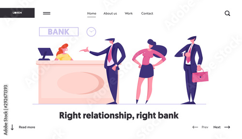 Queue in Bank Website Landing Page Slika na platnu