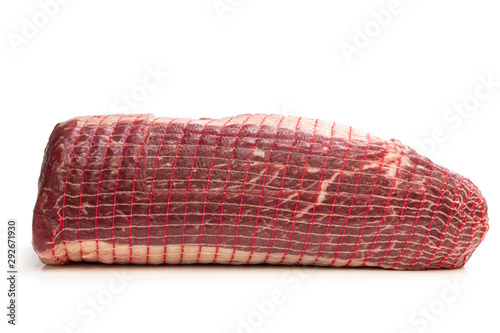 netted pack of raw meat package isolated on white background - 292671930