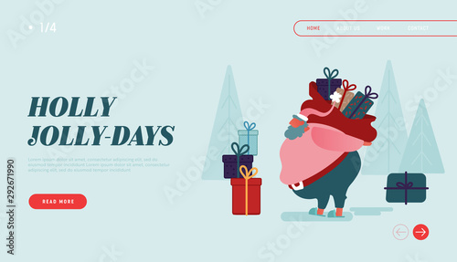 Garden Poster Cartoon cars Winter Holidays Landing Page Template. Merry Christmas and Happy New Year Website Layout with Santa Claus Characters carring presents, holding gifts. Vector illustration