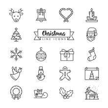 Christmas Holidays Vector Line Icon Set