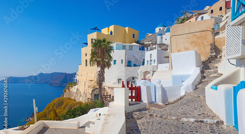 Canvas Prints Mediterranean Europe Beautiful view of famous romantic white town in Santorini Island, Greece