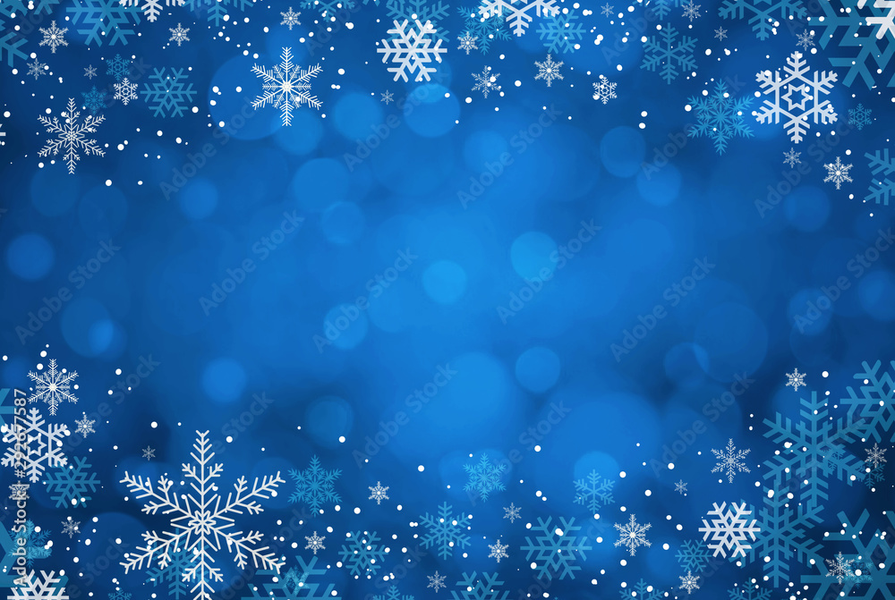 Fototapety, obrazy: Blue Christmas background with snowflakes