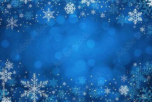 Blue Christmas background with snowflakes
