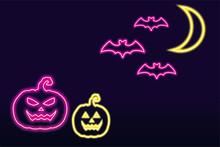 Halloween Neon Effect. Illustr...