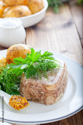 Jellied turkey meat on a white plate, selective focus