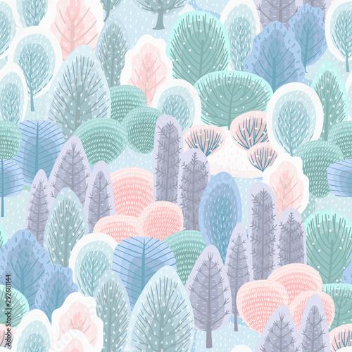 abstrakcjonistyczny-bezszwowy-wzor-z-zima-lasem-tlo-wektor