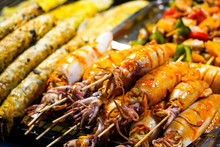 Street Food In Phu Quoc Island In Vietnam. Delicious Seafood For Tourist At Market At Night.