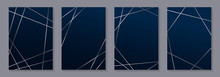 Set Of Modern Geometric Luxury Wedding Invitation Design Or Card Templates For Business Or Presentation Or Greeting With Silver Lines On A Navy Blue Background.