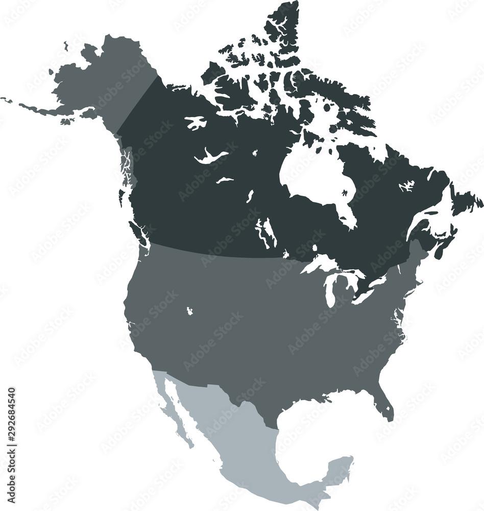 Fototapeta map of North America