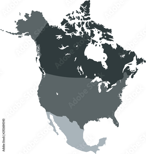 Cuadros en Lienzo  map of North America