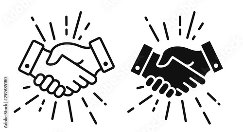 Fototapeta handshake Icon. Shaking hands is a symbol of greeting and business partnership. obraz