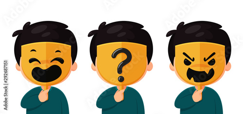 An anonymous man wearing a mask with a real face mask question mark The idea of Fototapeta