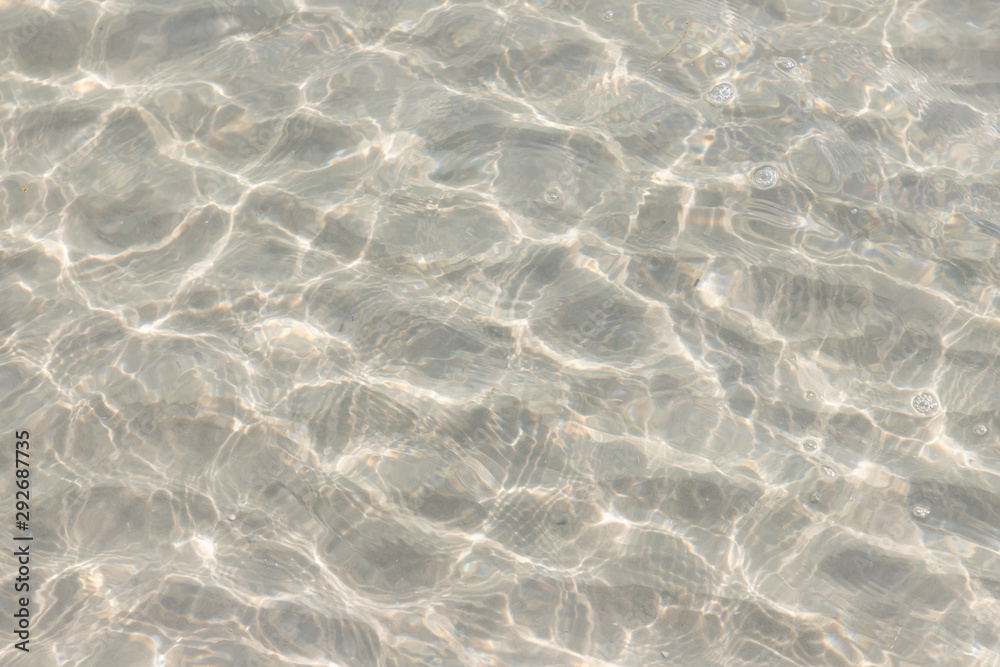 Fototapeta clear ripple sea and wave on white sand at Huahin Beach in summer time, Thailand. natural ocean water ripple texture.