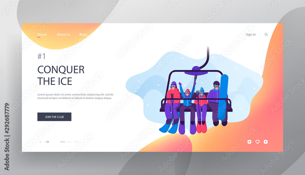 Fototapety, obrazy: Parents and Kids Go Up Hill on Mountain Funicular Website Landing Page. Happy Family with Skiing and Skateboarding Equipment Rise to Ski Lift Elevator Web Page Banner. Cartoon Flat Vector Illustration