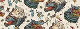 Fototapeta Fototapety na ścianę do pokoju dziecięcego - Wolf head seamless pattern. Old school tattoo art. Magic fairy tale style. Werewolf in sheep clothing. Aggressive wolves traditional tattooing background