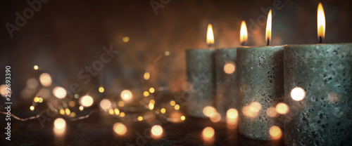 Candles with festive lights Wallpaper Mural
