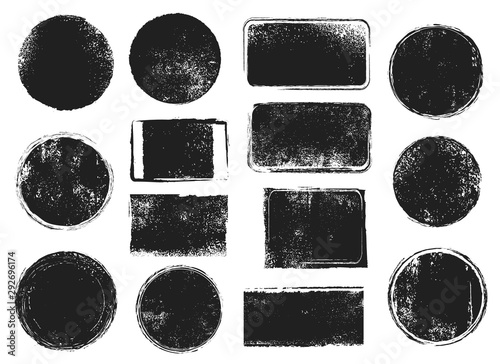 Obraz Grunge post stamps. Round and rectangular badges with distressed texture. Scratched blank rubber seal stamp vector isolated set - fototapety do salonu