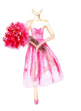 Ballerina In A Pink Dress With...