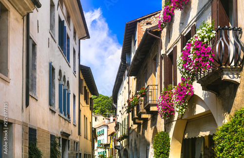 Charming floral decorated streets of medieval town Asolo in Veneto. Traditional Italy series