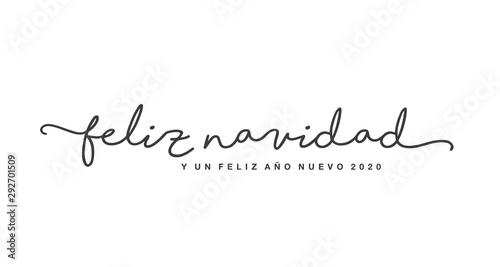 Photo Merry Christmas and Happy New Year 2020 spanish language isolated black handwrit