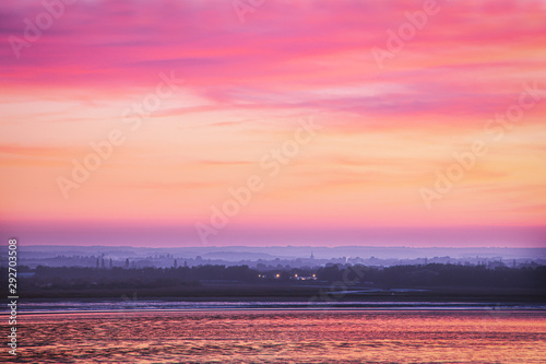 View across Sandwich Bay from Ramsgate Esplanade at dusk during a beautiful September sunset.