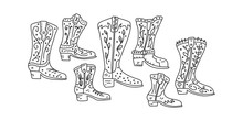Informational Flyer Set Cowboy Boot Hand Drawn.